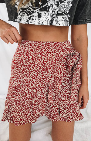 Pachino Wrap Skirt Red Floral