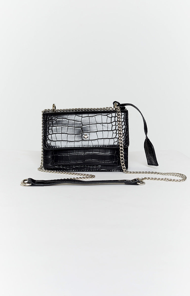 Peta & Jain Lissy Shoulder Bag Black Croc