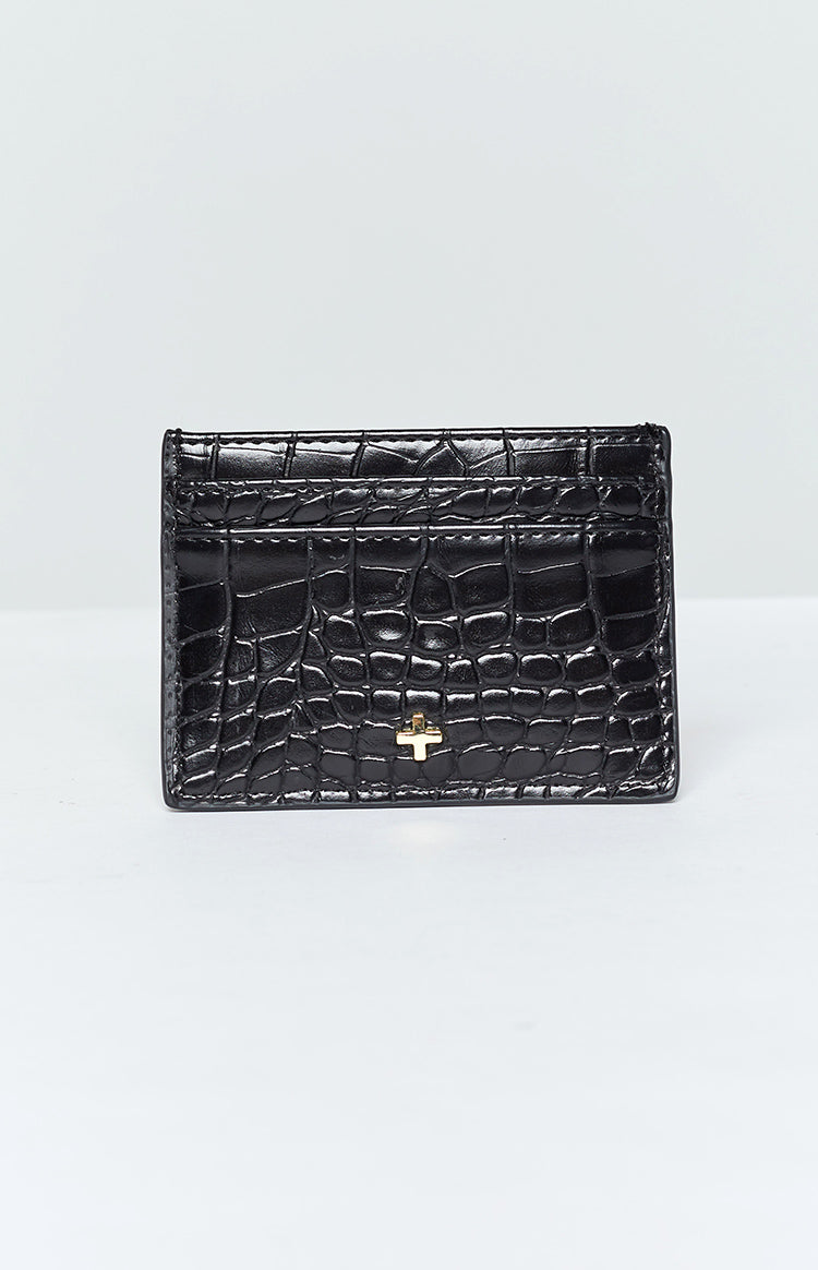 Peta & Jain Izzy Card Holder Black Croc