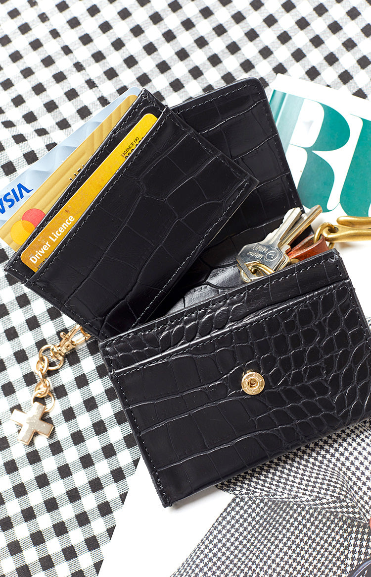Peta & Jain Chana Wallet Black Croc