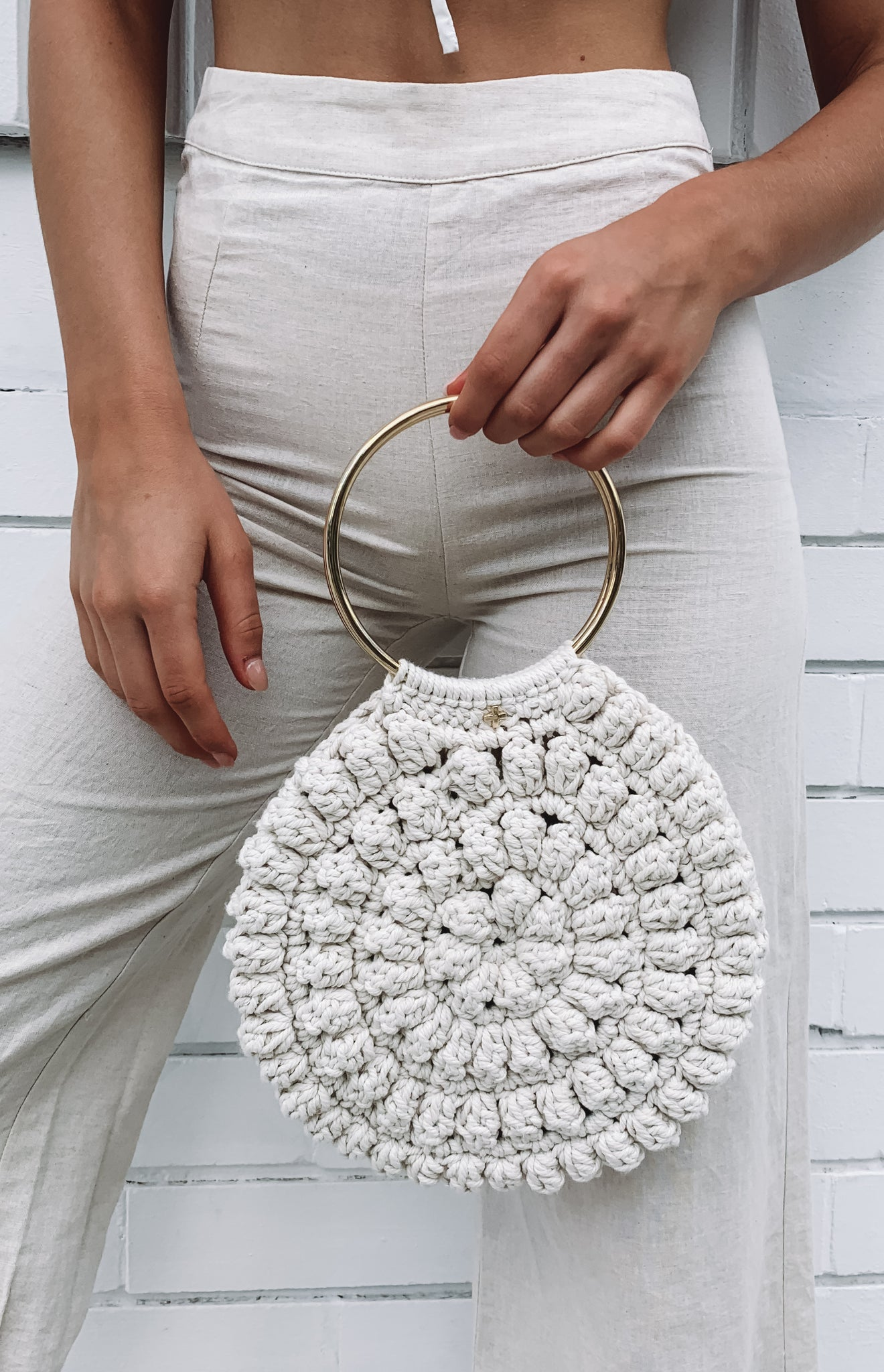 Peta & Jain Alana Crochet Ring Mini Tote Natural