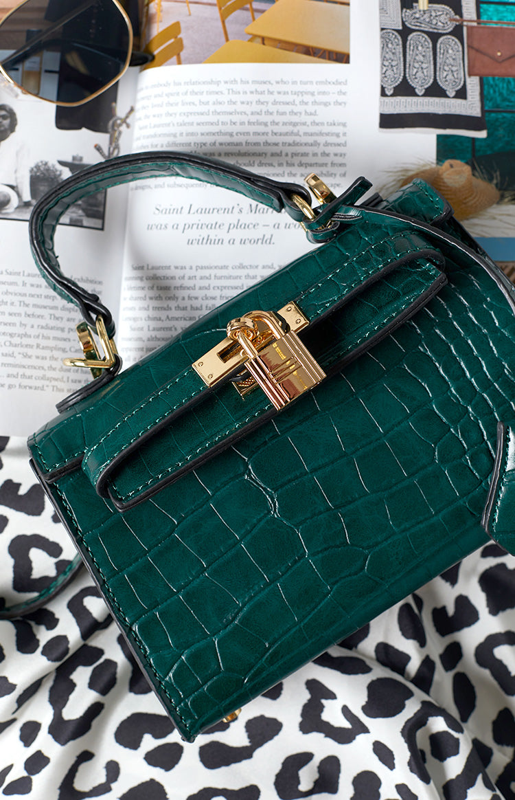 Peta & Jain Hedi Top Handle Mini Bag Green Croc