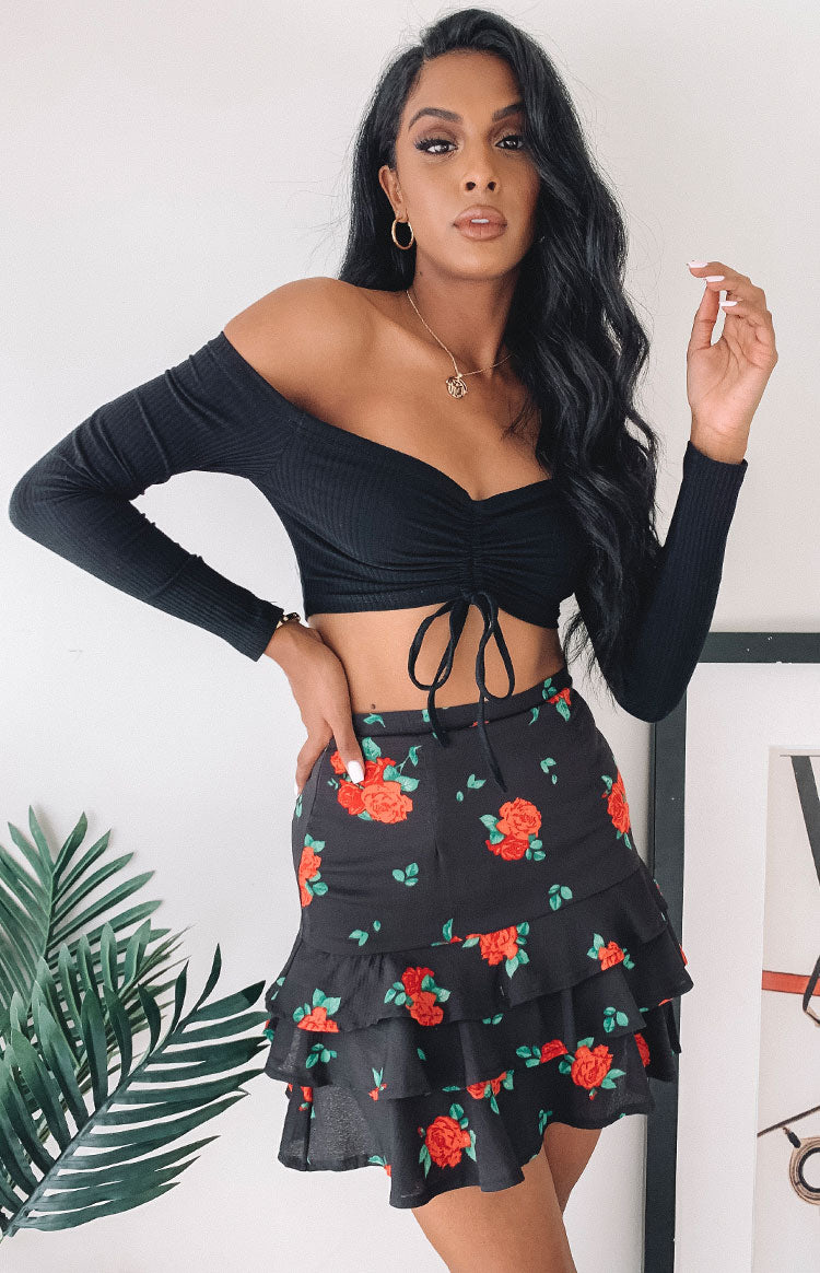 Prancer Skirt Black Floral