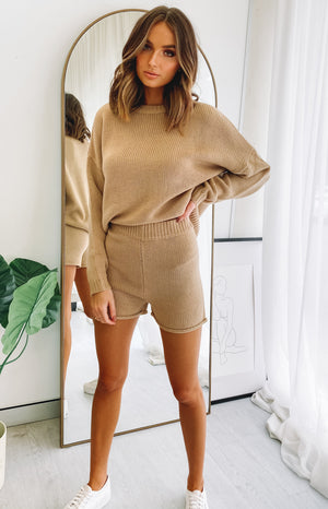 Recharge Knit Shorts Tan