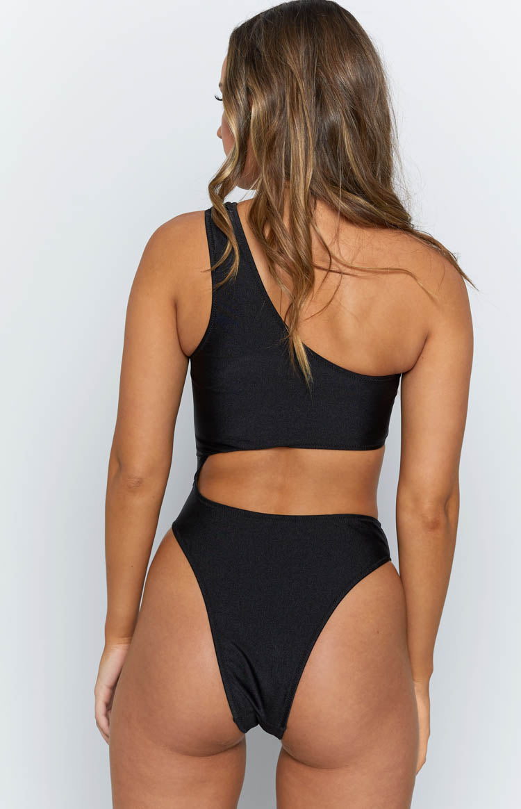 9.0 Swim Molokai One Shoulder One Piece Metallic Black