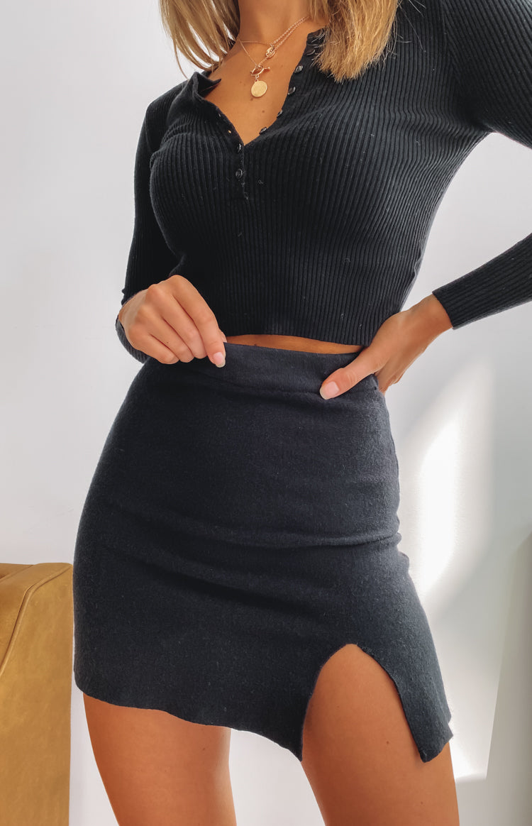 Roma Knit Split Skirt Black
