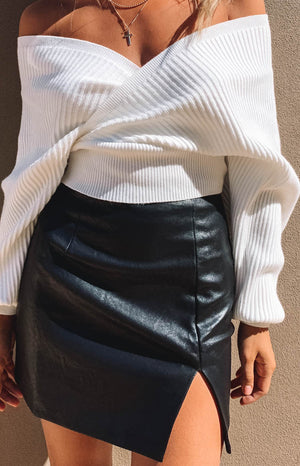 Rosario Split Skirt Black PU