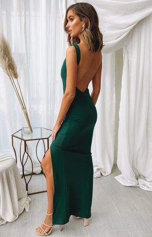 Rosette Formal Dress Emerald