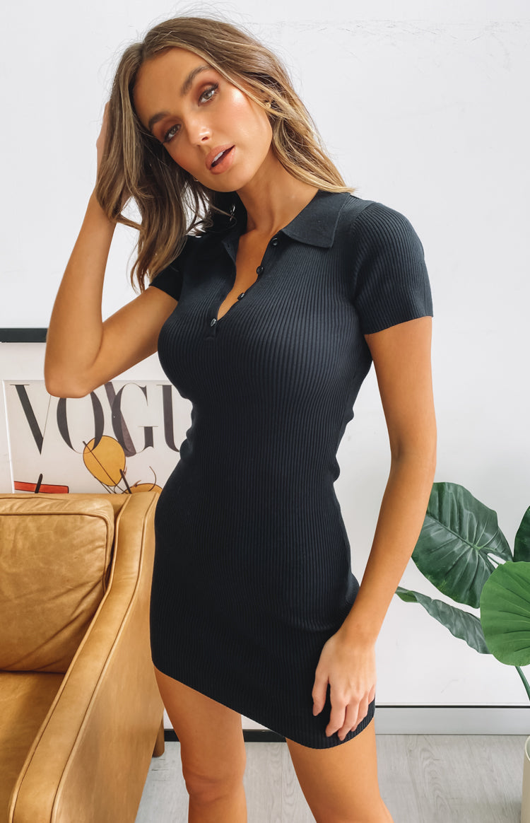 Royal Peach Knit Dress Black
