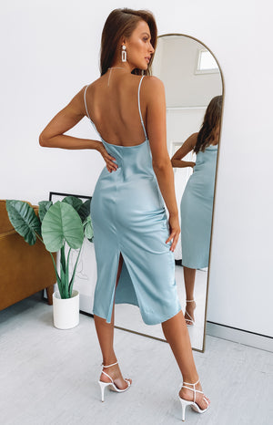 Schiffer Slip Midi Dress Icy Blue