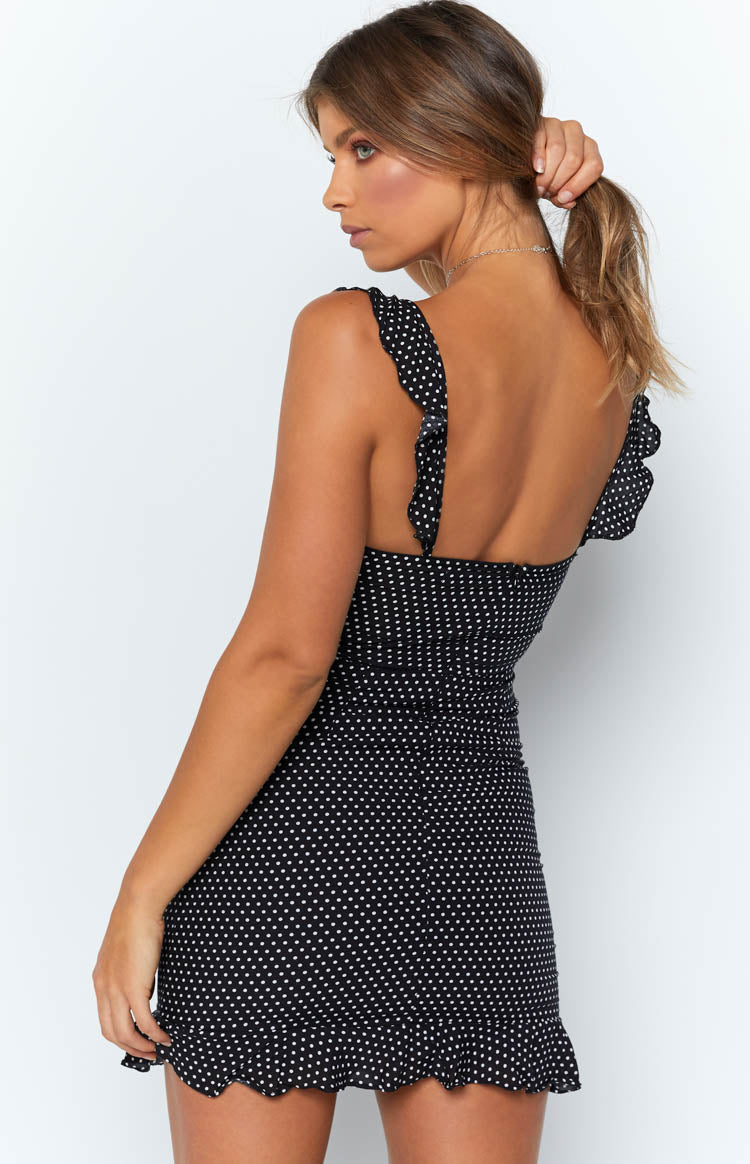 Samantha Ruffle Dress Black Polka Dot