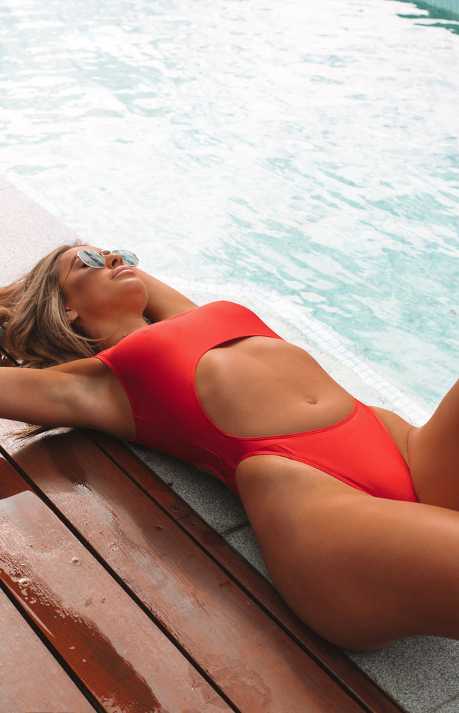 e4bc8a07d09a5 9.0 Swim San Andres Cut Out One Piece Metallic Red – Beginning Boutique