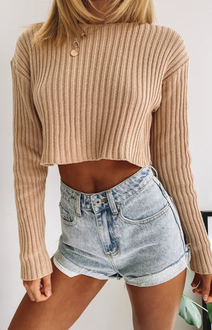 Saviour Cropped Knit Camel