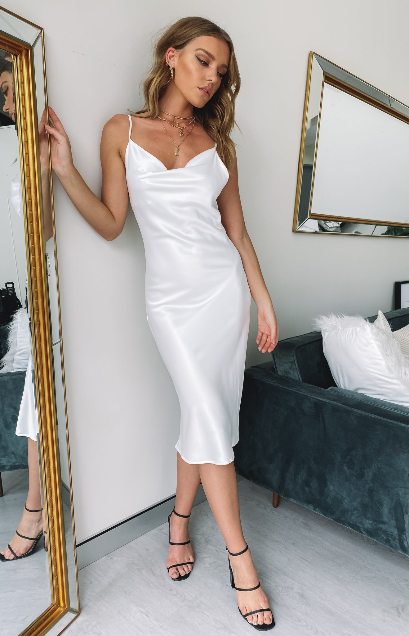 Schiffer Slip Midi Dress White