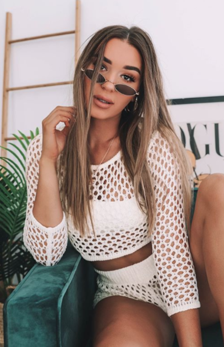 Night Wish Mesh Two Piece Set White