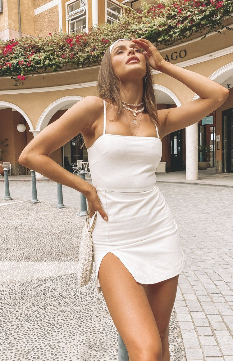 Selous Slip Mini Dress White Linen