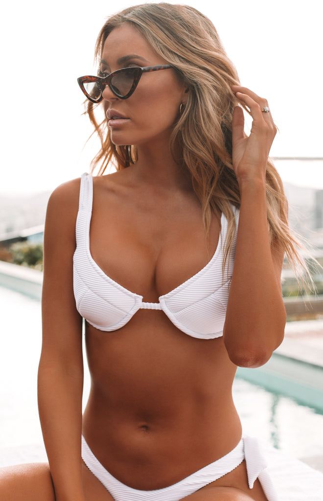 new appearance exclusive deals united states 9.0 Swim Serena Underwire Bikini Top White Ribbed – Beginning Boutique