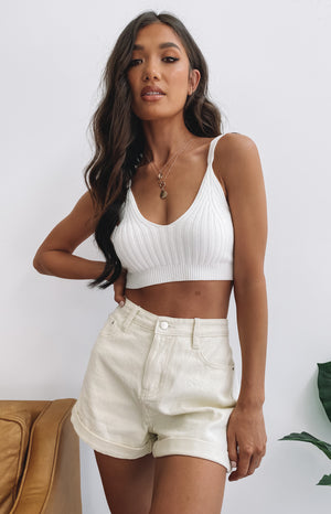 Show Me Love Knit Crop White