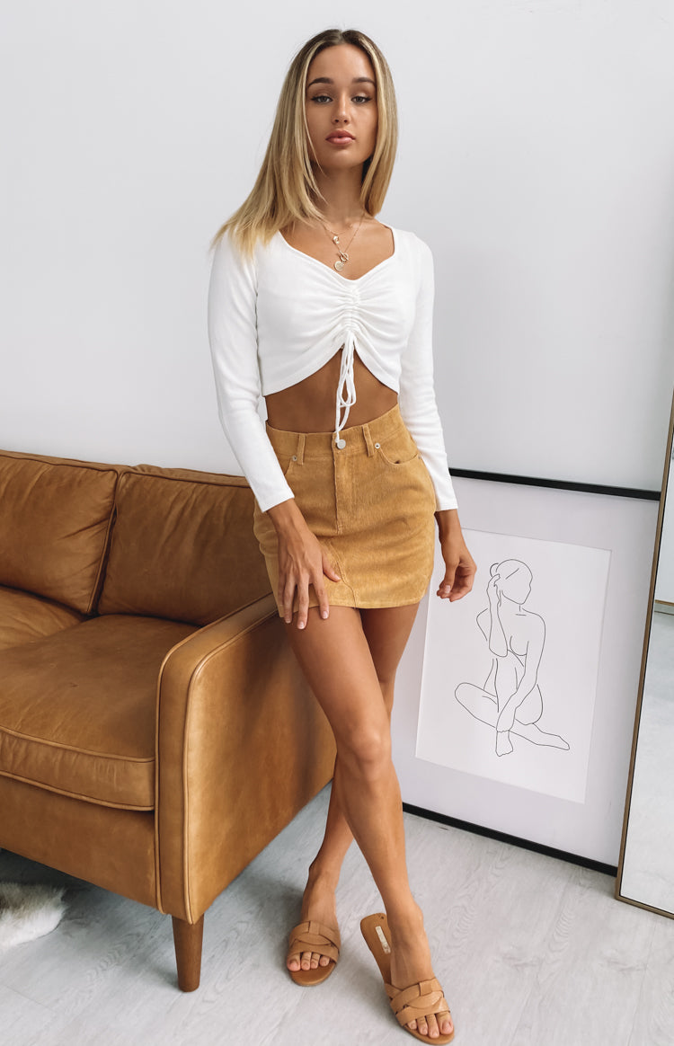 Slow It Down Ruched Knit Crop White