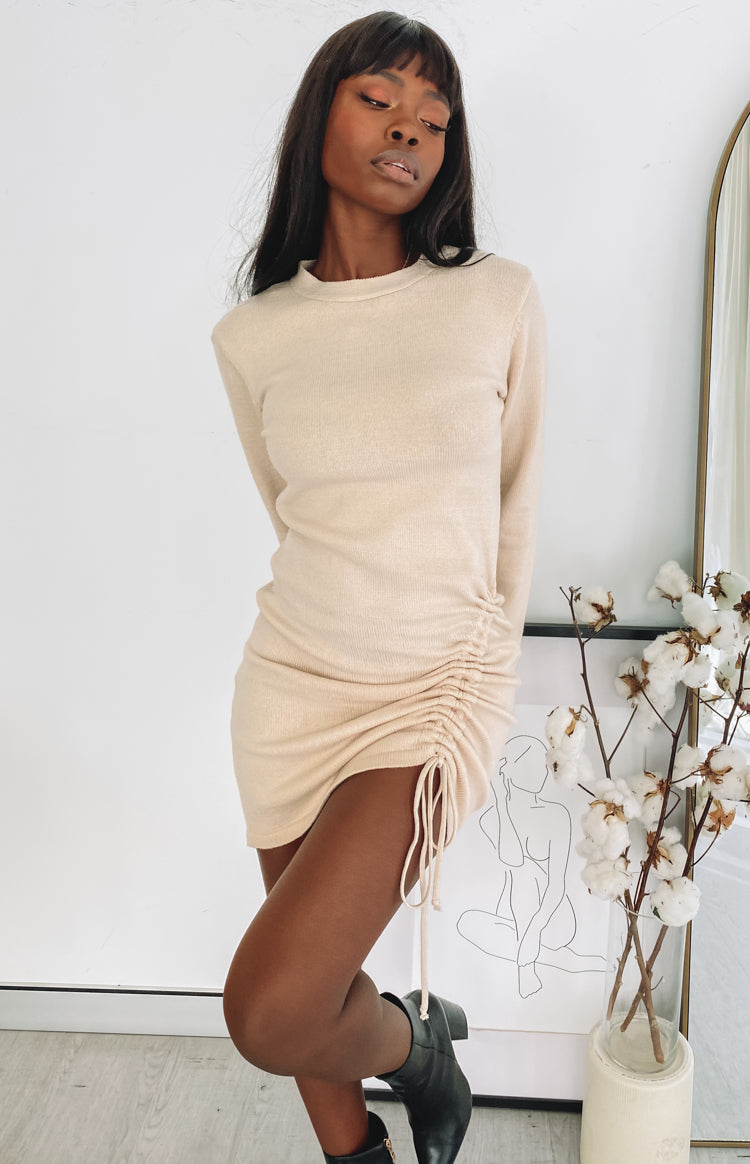Smooth Move Long Sleeve Dress Beige