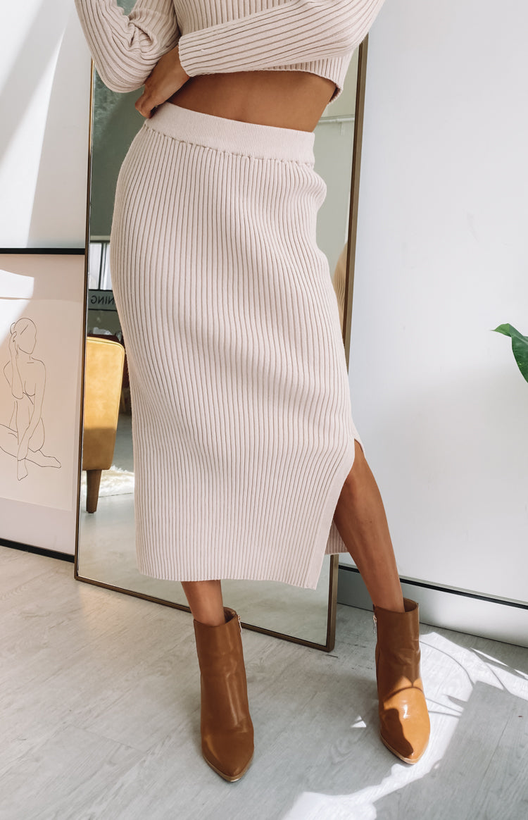 Solara Ribbed Midi Skirt Beige