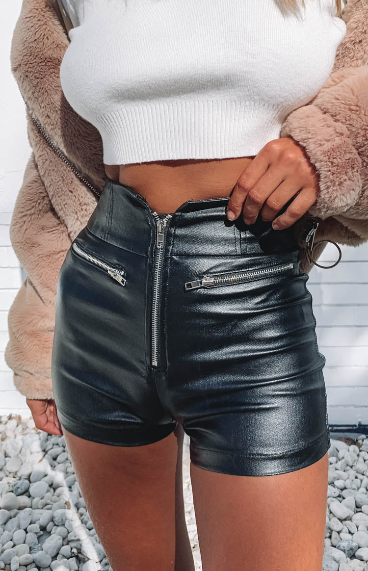 Stasia Zip Shorts Black PU