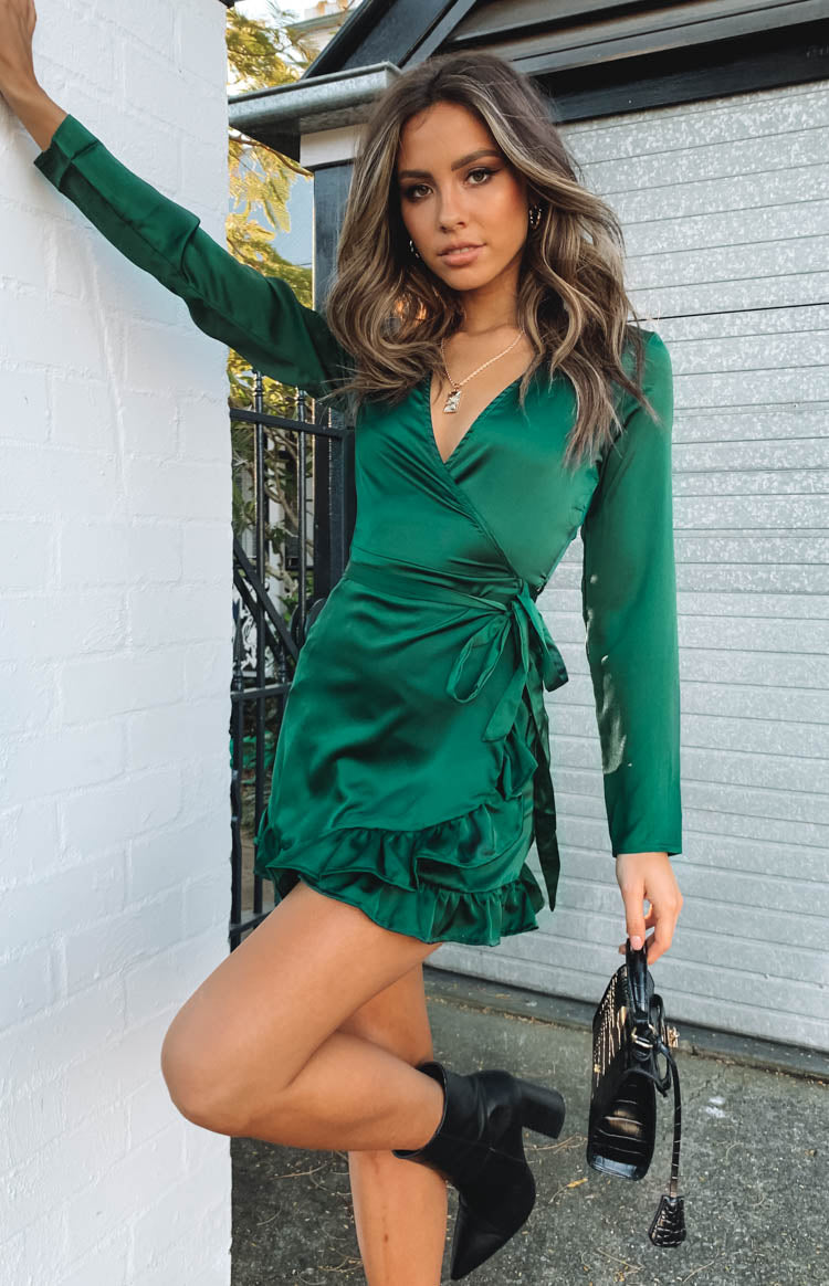 Step Up Long Sleeve Dress Emerald