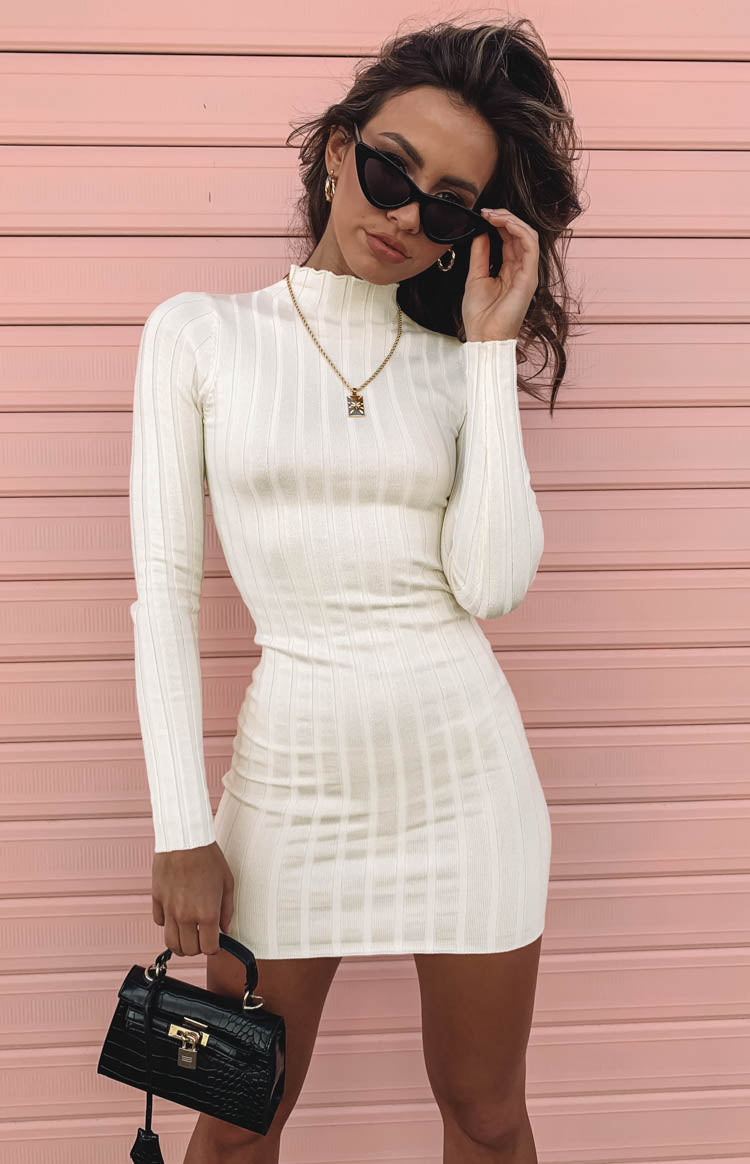 Suzie Ribbed Fitted Dress Ivory