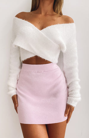 Sweetie Wrap Crop Jumper Cream