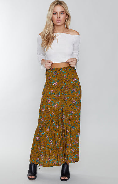 Riveria Maxi Skirt Khaki Floral