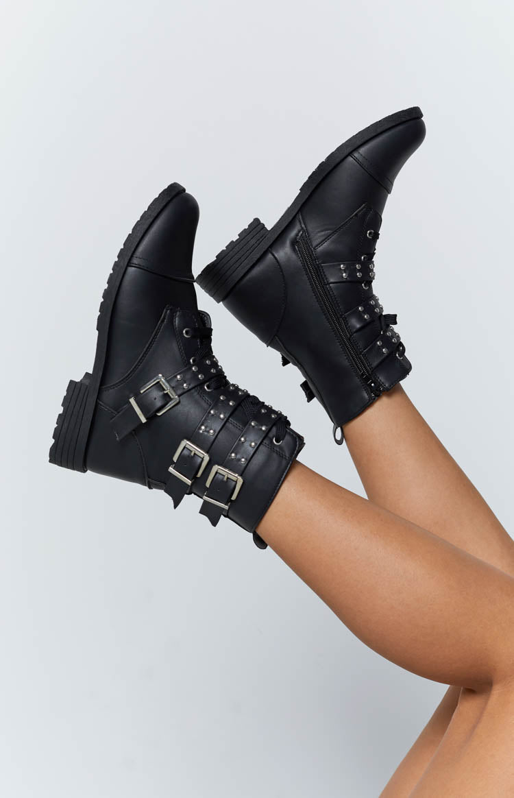 Tasha Studded Boots Black