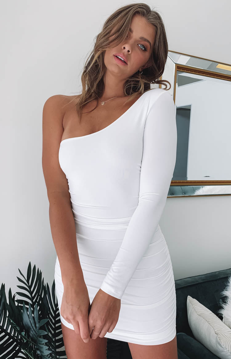 Taytum One Shoulder Party Dress White
