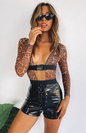 The Eye Of The Tiger Mesh Long Sleeve Bodysuit Leopard