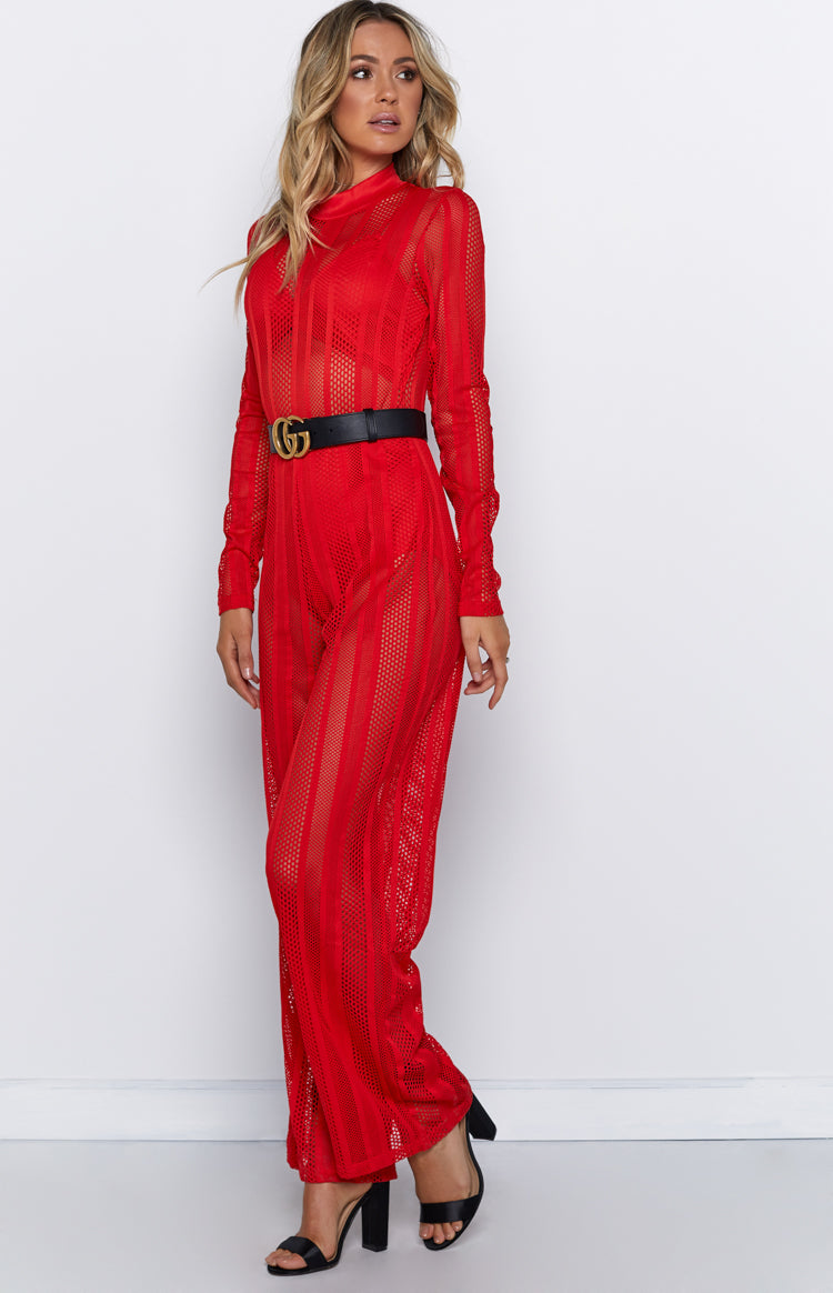 Time For Champagne Jumpsuit Red