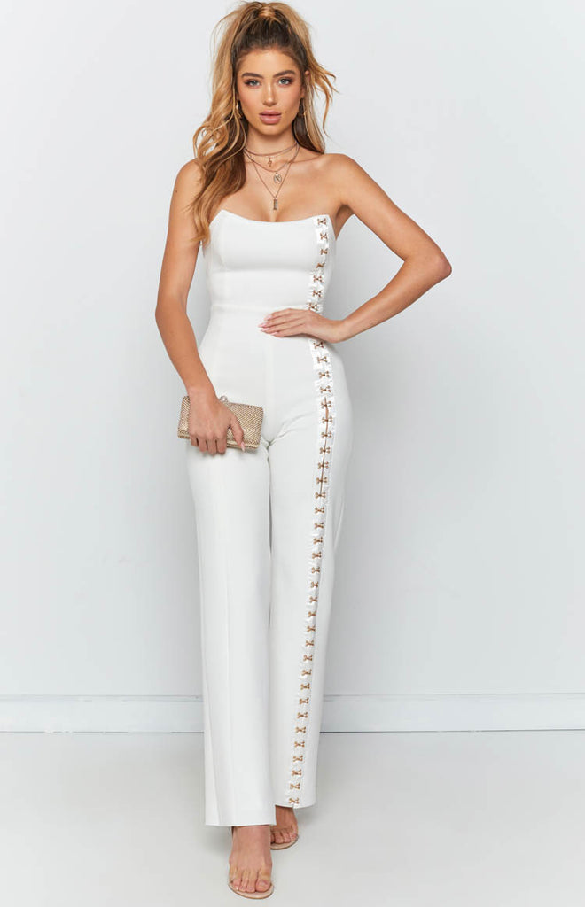 f41b594444b Times Square Jumpsuit White – Beginning Boutique