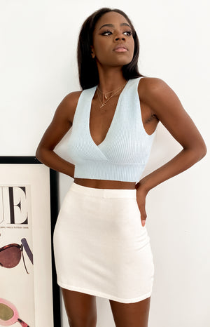 Tori Knit Crop Top Blue