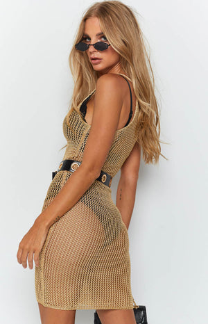 Vacation Knit Dress Gold