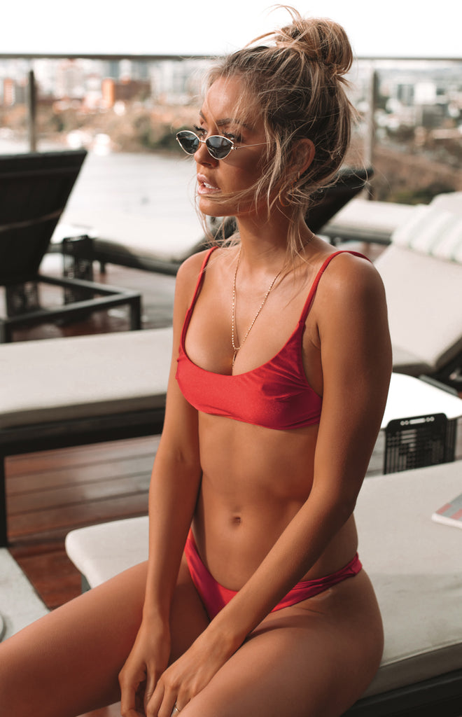 9.0 Swim Valentina Bikini Top Metallic Red