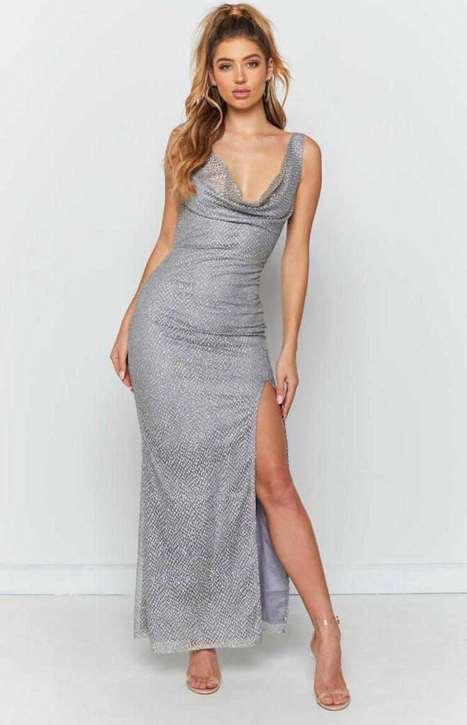 2cf4c7b8de1d Venice Formal Dress Silver Sparkle – Beginning Boutique