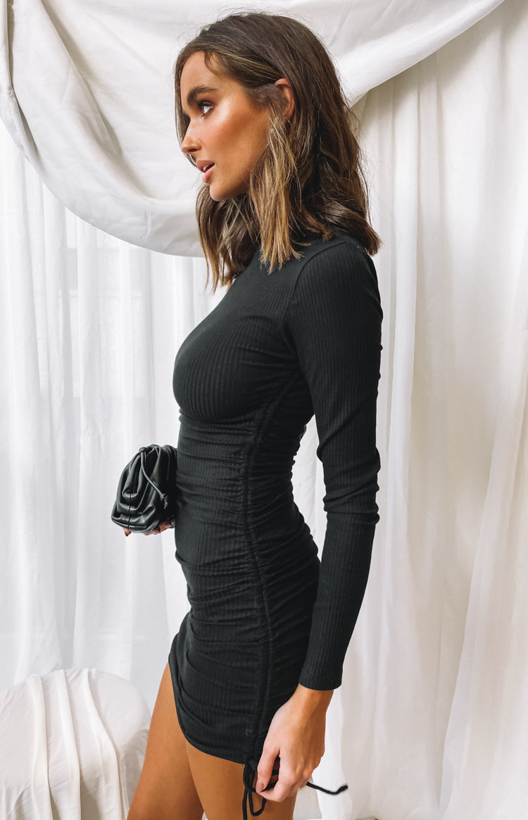Voxi Long Sleeve Dress Black