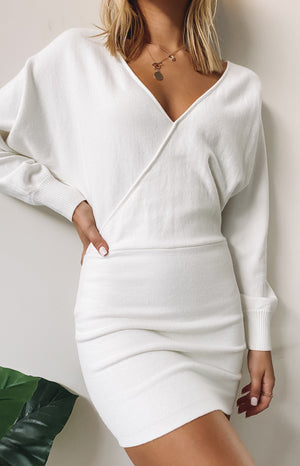 Way More Long Sleeve Knit Dress White