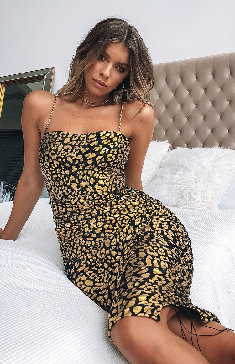 Wild Delight Dress Gold Leopard