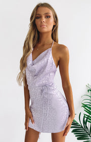 Your LA Catch Cowl Neck Mini Dress Lilac Leopard