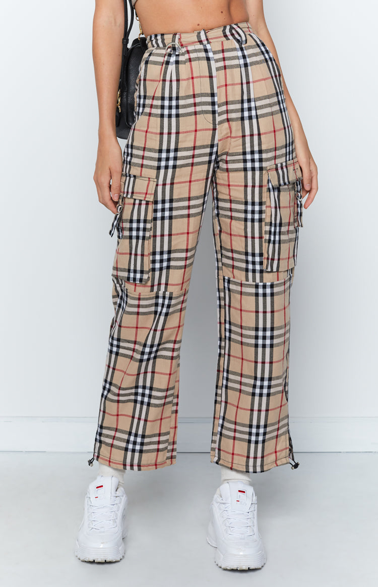 Yours Truly Cargo Pants Nude Plaid