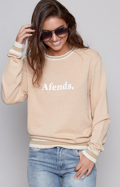 Afends Squad Hemp Crew Neck Sweat Sand