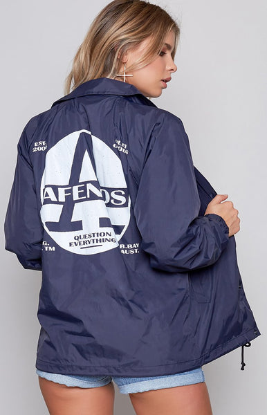Afends Register Coaches Jacket Navy