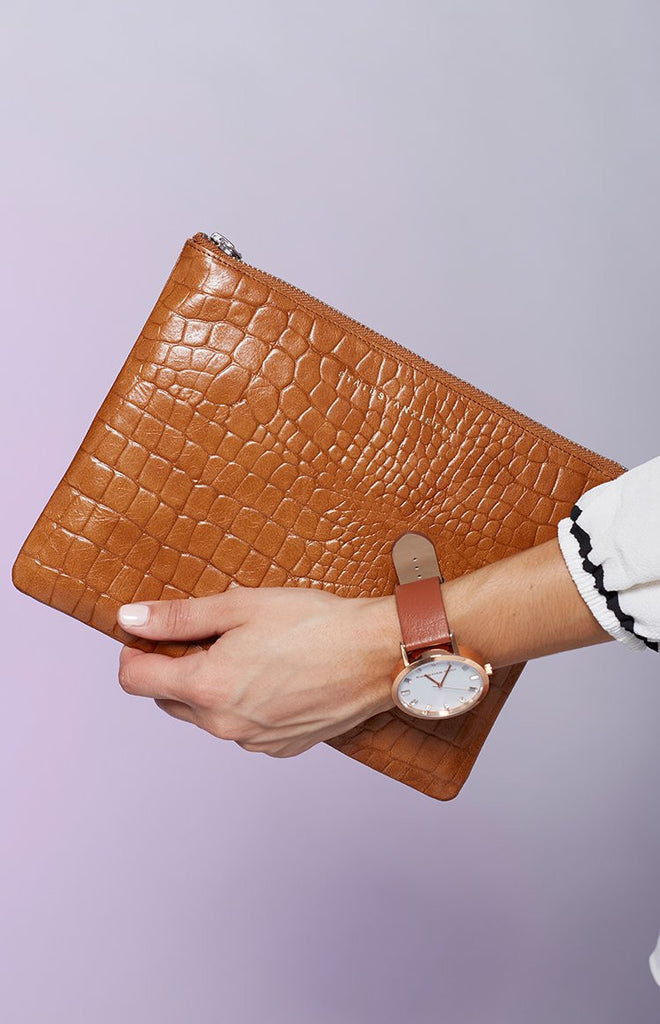 Status Anxiety Anti-Heroine Clutch Tan Croc Emboss