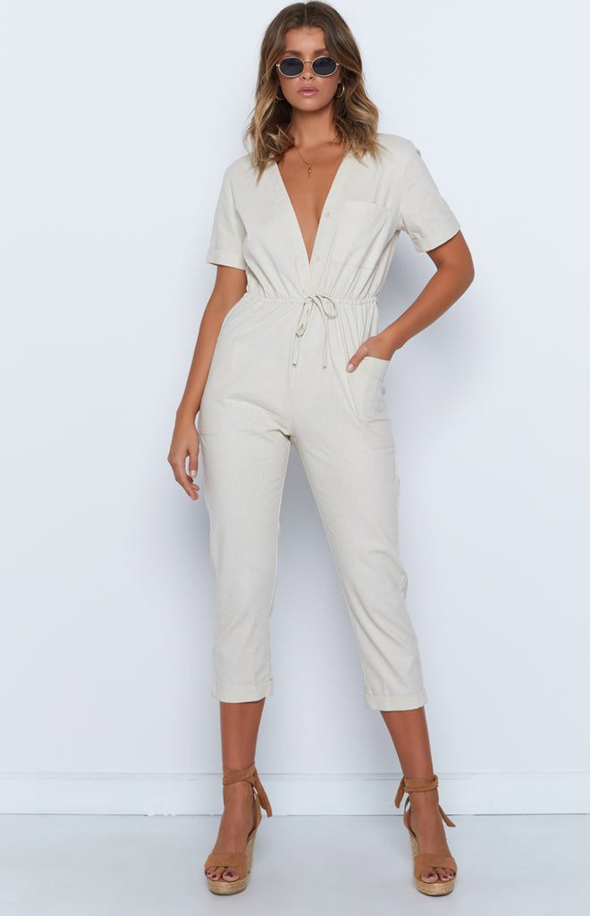 purchase genuine complete in specifications undefeated x Virgo Jumpsuit Beige