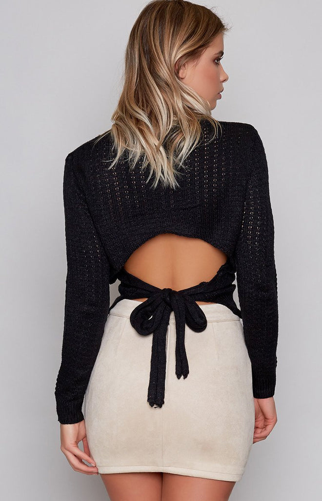 Heavenly Backless Knit Black