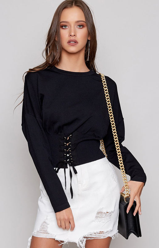 Kim Corset Cropped Sweater Black